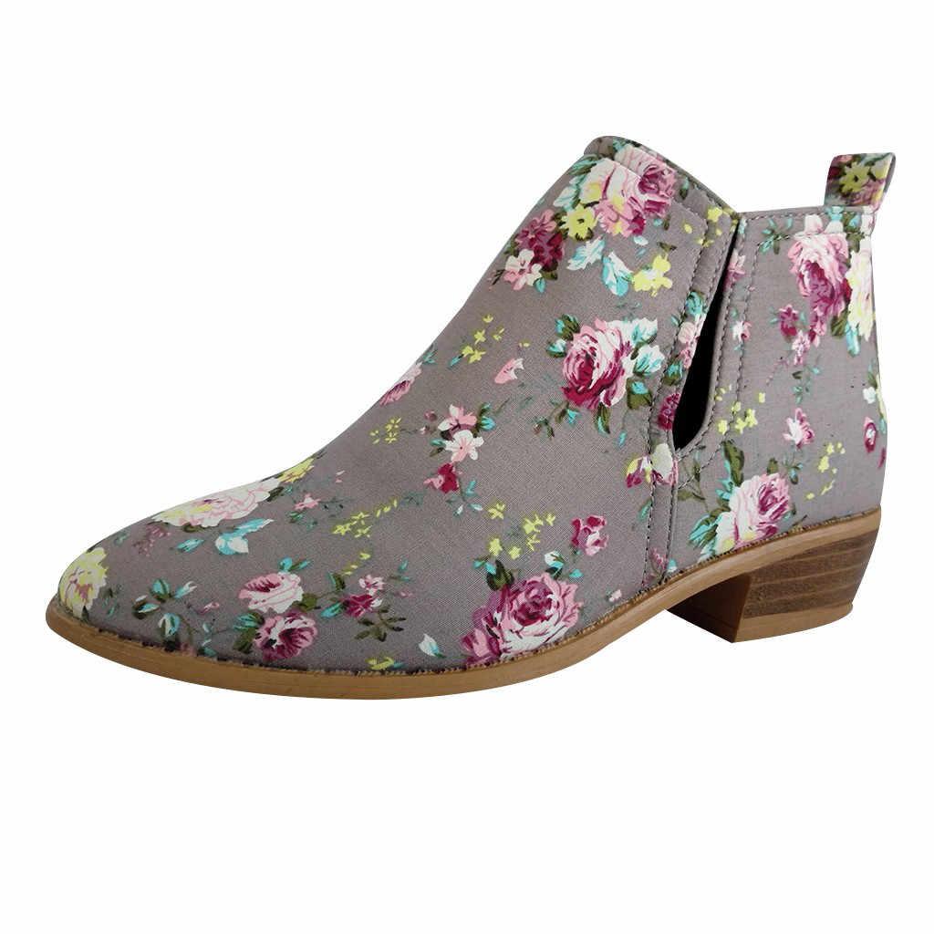 Yarım çizmeler Kadınlar için Çiçek Çiçek Baskı Kalın Ayak Bileği kısa çizmeler Büyük Boy Bayanlar Moda Kızlar Bootie Rahat Konfor Ayakkabı