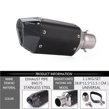 Universal 51mm Motorcycle Exhaust Muffler Carbon Fiber Pipe Motocross Exhaust Tip Tail Tube Silencer For Scooter Dirt Pit Bike