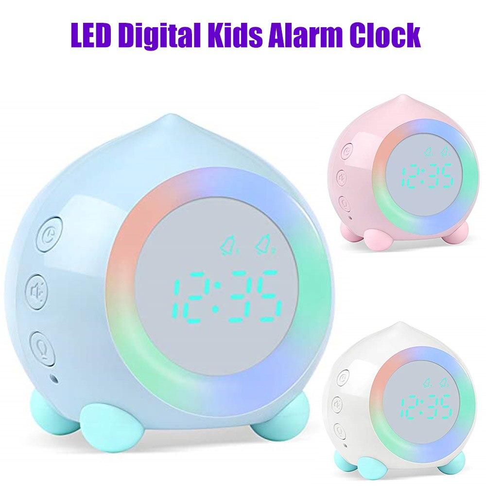 Kids Smart Alarm Clock bluetooth Function 7 Colors Changing Bedroom Student Wake Up Digital Display Table Clock Sleep Timer