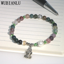 WUBIANLU New 6mm Natural Jades Onyx Quartz Beads Faux Pearl Frog Pendant Bracelet For Women Jewellery lii ji natural stone black onyx agate clear quartz crystal with jade clasp bracelet for women party