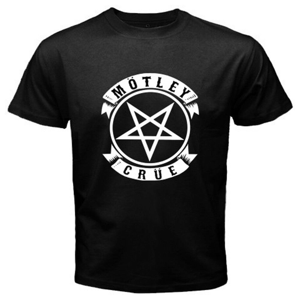 New MOTLEY CRUE Pentagram Logo Metal Rock Band Mens Black T-Shirt Size S to 3XL Fashion Men T shirt