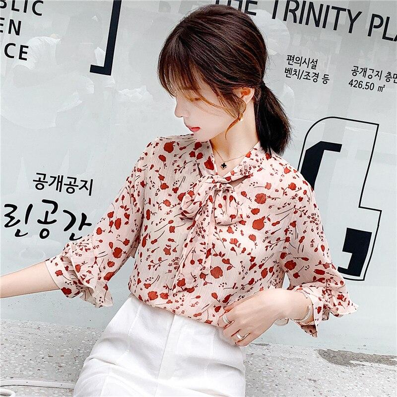 Élégant été 2019 noeud papillon bureau mode décontracté hauts Blouse Floral imprimé Tee Top femme femmes demi manches chemise Blusas