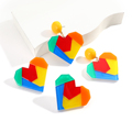 Уникальные Акриловые серьги-капли AENSOA в форме сердца, модные массивные серьги-подвески радужного цвета, ювелирные изделия, подарки, женские...