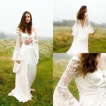 2020 boho vestidos de casamento querida mangas compridas rendas até sexy sem costas vestidos de noiva a linha vestidos de noiva
