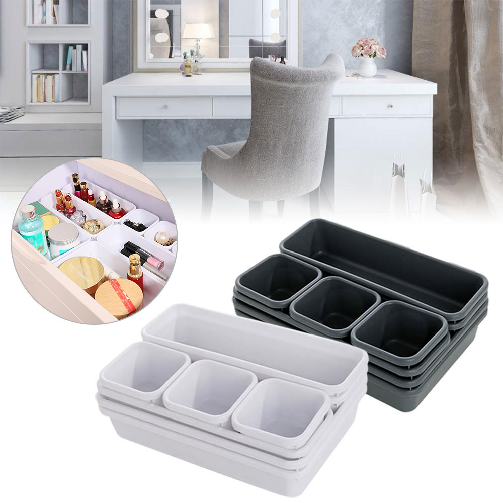 Storage-Organizer Desk-Box Drawer Closet-Jewelry Makeup Interlocking Bathroom Kitchen title=