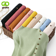 GOPLUS Button Turtleneck Womens Sweater Pink Long Sleeve Pullovers 2019 Autumn Korean Style Knitted Sweaters For Women Clothing