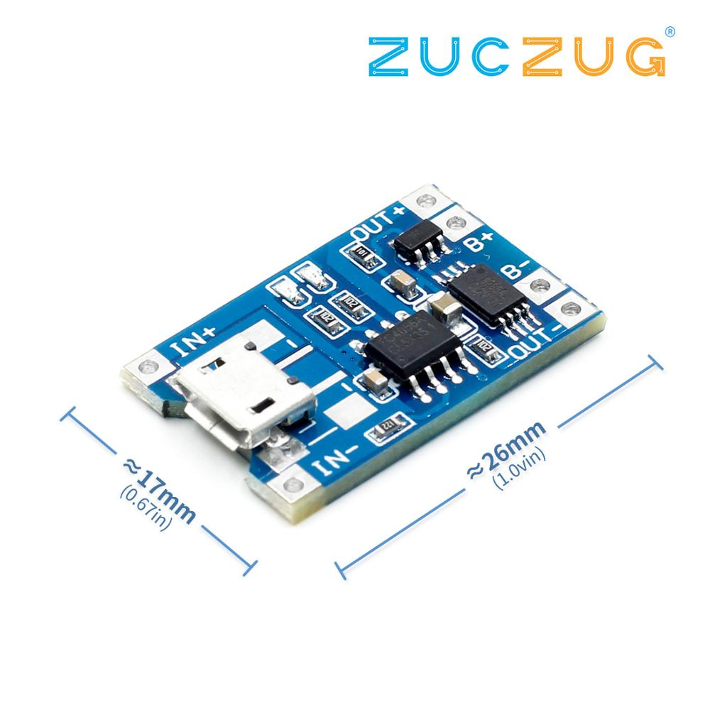 5V 1A Micro USB 18650 Lithium Battery Charging Board Charger Module+Protection Dual Functions TP4056