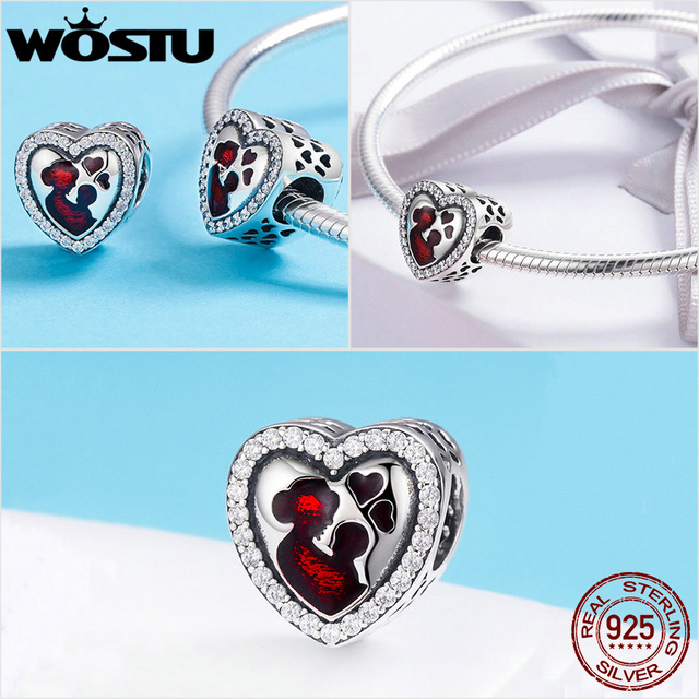 WOSTU 100% Authentic 925 Sterling Silver Heart Shape Charm Beads Fit Brand Charm Bracelet DIY Original Silver Jewelry 3