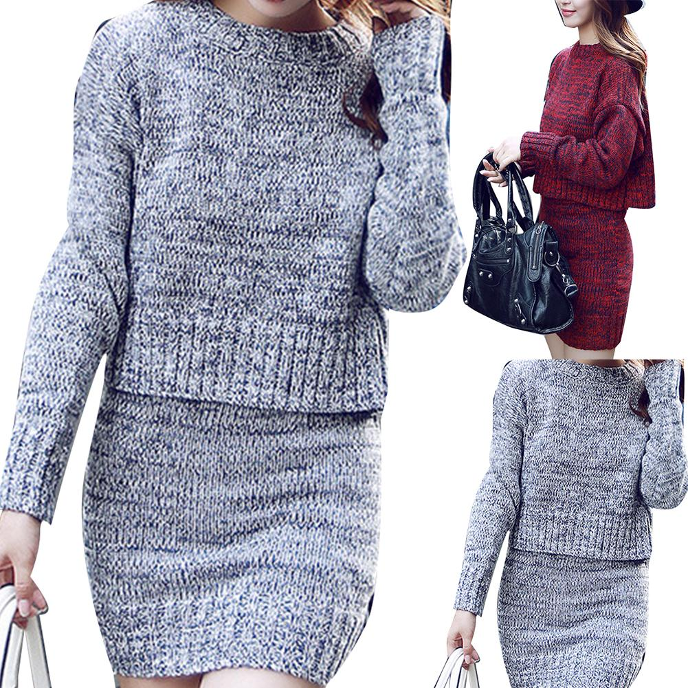 Dress Women Long Sleeve O-Neck Sweater Set Fashion Simple Solid Color Pullover Casual Elastic Skinny Sexy Short Sweater Dress
