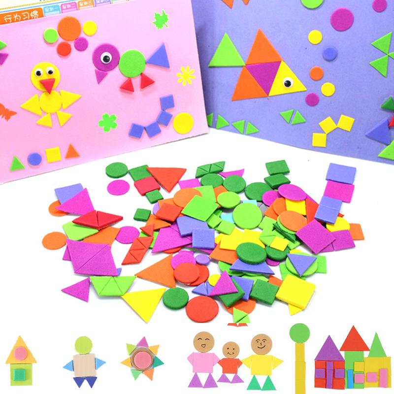 400/200pcs Foam Stickers Geometry Puzzle Self Adhesive EVA Stickers Children Kids Education DIY Montessori Toys For Making Gift