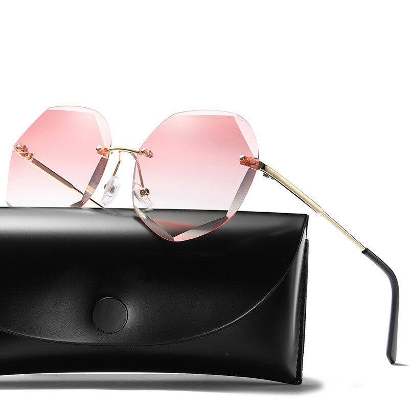 Женские солнцезащитные очки без оправы QS11, коричневые, розовые солнцезащитные очки с градиентом, женские брендовые Дизайнерские Большие со...