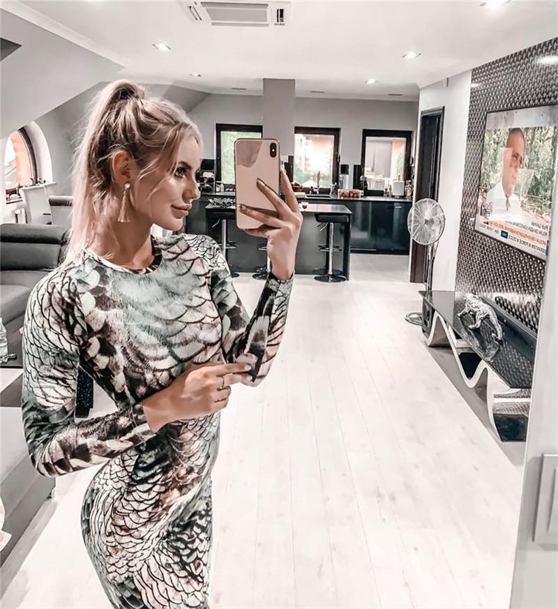Fashion Women  Color Leopard Print Crew Neck Long Sleeve Bodycon Club Long Dress