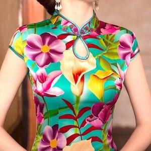 Image 2 - Mùa Hè Năm 2019 Trung Quốc Mới Sườn Xám Váy In Hình Nguyên Chất Lụa Qipao Đầm Cổ Tròn Tu Dưỡng Đạo Đức Hãng Sản Xuất Bán Buôn