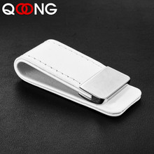 QOONG High Quality Leather Money Clip Metal Men Women Card Pack Slim Bills Cash Clips Clamp for Thin Billfold Holder