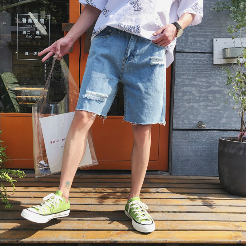 Hong Kong Style Summer New Style Men With Holes Short Jeans Loose Casual Trend Teenager Flash Short Pants Men's