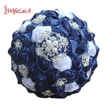 WifeLai A Diamond Navy Blue Bridal Brooch Wedding Bouquets De Noiva de mariage Holding Satin Bouquets On Sale W293