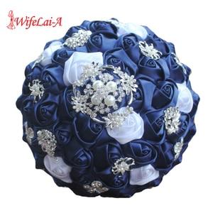 Image 1 - WifeLai A Diamond Navy Blue Bridal Brooch Wedding Bouquets De Noiva de mariage Holding Satin Bouquets On Sale W293