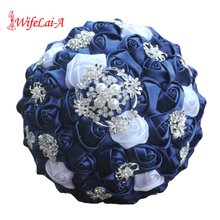 WifeLai יהלום כחול כהה כלה סיכת חתונה זרי דה Noiva דה mariage מחזיק סאטן זרי על מכירה W293