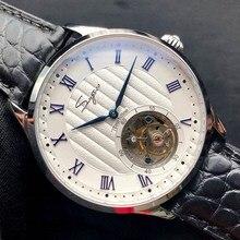 Süper lüks erkekler orijinal ST8000 Tourbillon hareket saatleri timsah deri erkek mekanik saat safir kristal