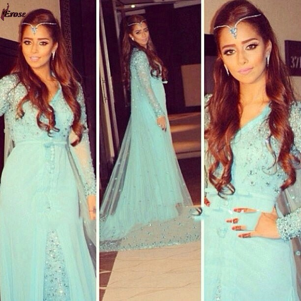 Long Sleeve Evening Dresses Muslim Maxi Arabic Elegant Evening Gown Islamic Clothing For Women Dubai Kaftan Dress For Prom Party