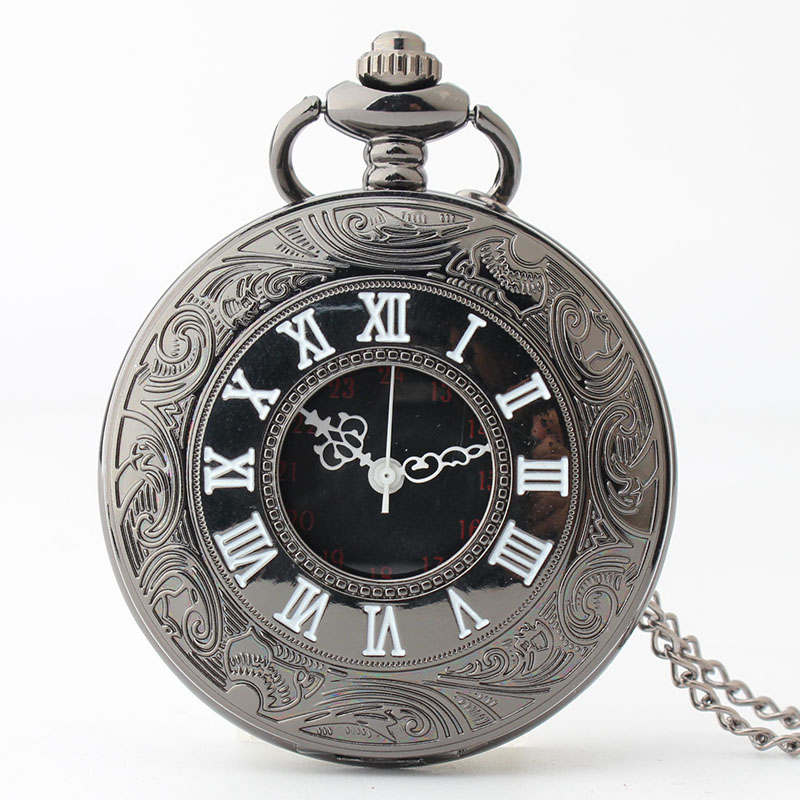 Pocket & Fob Watch Black Roman Numbers Quartz Pocket Watch Carving Engraved Fob Clock Men Women Gift With Necklace