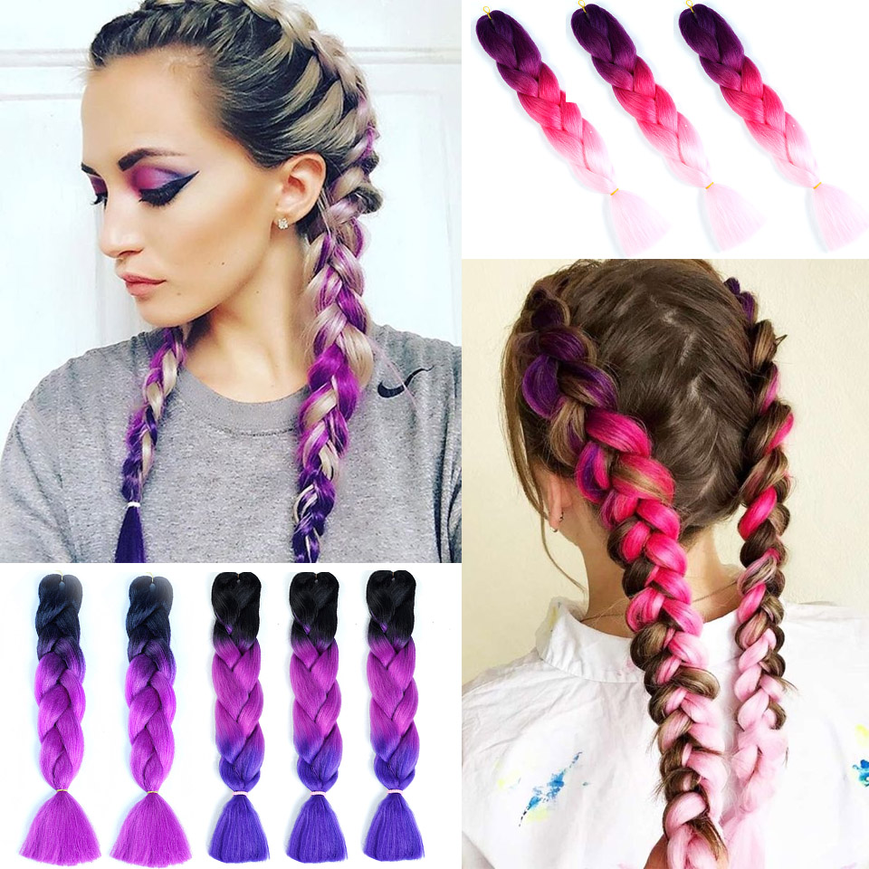 Ailiade 24inch Ombre Synthetic Crochet Hair Extensions Jumbo Braids Hairstyles Pink Blonde Red Purple Braiding Hair Buy At The Price Of 1 03 In Aliexpress Com Imall Com