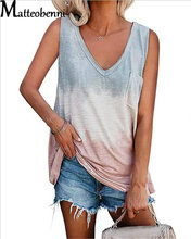 2021 Summer Street Style T-Shirt Gradient Patchwork Women Sexy Sleeveless Top Fashion Casual Loose V-Neck Tank Short Clothes