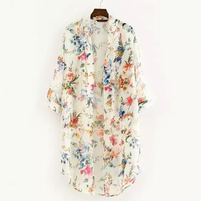 Women Vintage Floral Chiffon Shirts Small Fresh Simple Long Sunscreen Blouse Loose Shawl Kimono Cardigan Boho Tops 1