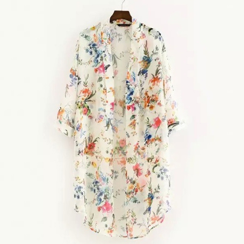 Women Vintage Floral Chiffon Shirts Small Fresh Simple Long Sunscreen Blouse Loose Shawl Kimono Cardigan Boho Tops|Blouses & Shirts| - AliExpress