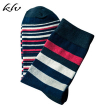 Men Boys Contrast Color Block Striped Long Crew Socks Cotton Ribbed Knit Winter crew neck contrast striped tee