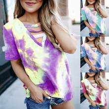 summer Women 's sexy Hollow out T-shirt Casual Tie dye print Short Sleeve V-neck tees T-shirts Fashion Street Lady Gradient Tops