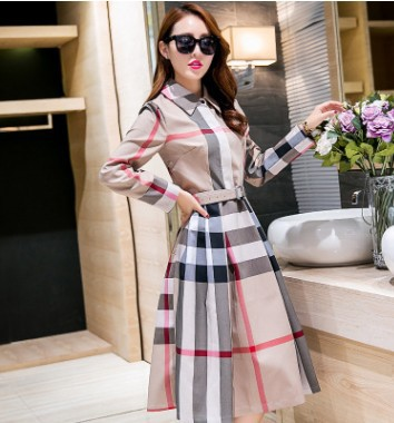 2019 Autumn Clothing New Style WOMEN'S Dress Elegant A- Line Big Hemline Type Plaid Long-sleeved Dress Slimming Medium-length Dr