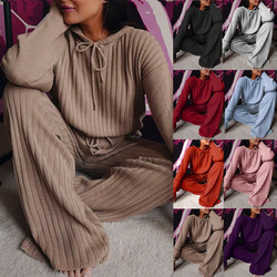 Spot Popular European and American Women's Clothing 2020 Autumn New Long Sleeve Loose Hooded Casual Suit Om9436 Leisure Suit