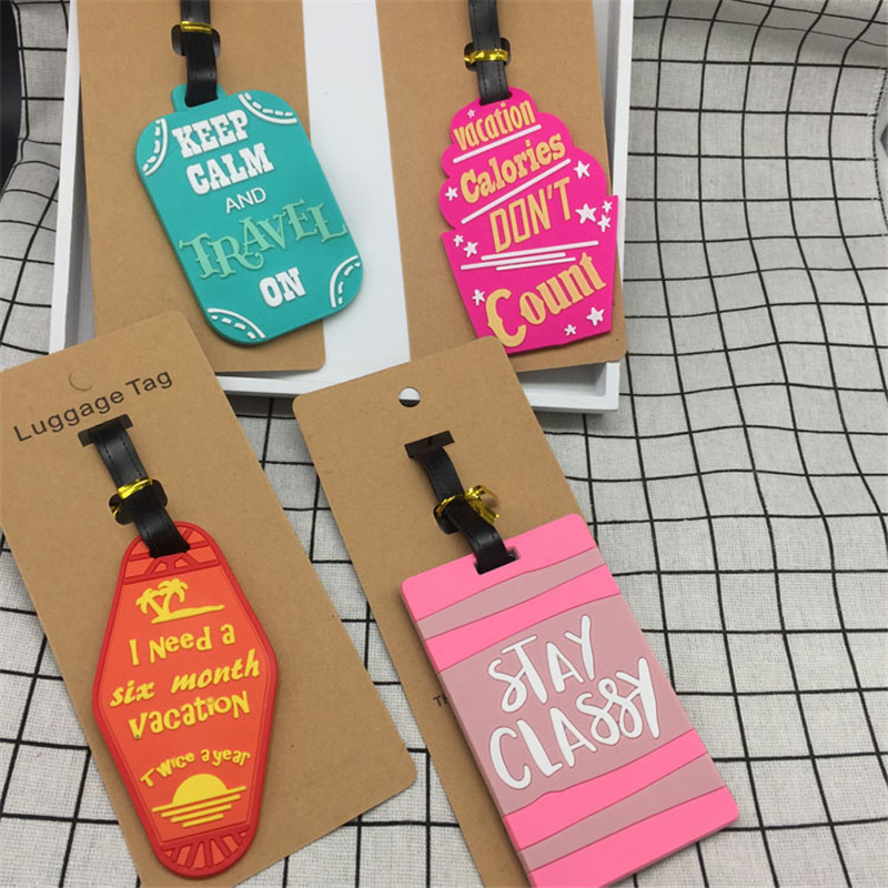 Travel Accessories Keep Calm Luggage Tag Fashion Women Silica Gel Suitcase ID Address Holder Baggage Boarding Tag Portable Label