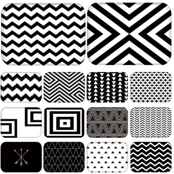Doormat Kitchen Carpet Rubber Floor Mats Black White Geometric Nordic Classic Style Entrance Home Decor Rug Anti-Slip 48231 image
