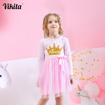 VIKITA Girls Long Sleeve Dress Girls Unicornio Vestidos Kids Princess Tutu Dress Children Unicorn Autumn Winter Dresses LH4579 vikita girls unicorn dress princess tutu dress for girls children birthday party licorne vestidos kids autumn winter dresses
