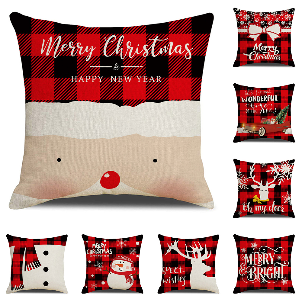 Red Plaid Christmas Cushion Cover Nordic Home Decor Office Sofa Pillow Case Xmas Gift Decorative Throw Pillow Cover 45x45cm