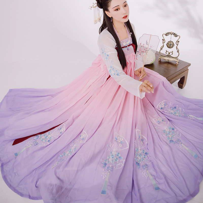 Hanfu Dress Women Ancient Chinese Costume Fairy Cosplay Elegant Tang Dynasty Embroidery Floral Vintage Folk Dance Costume DL5336
