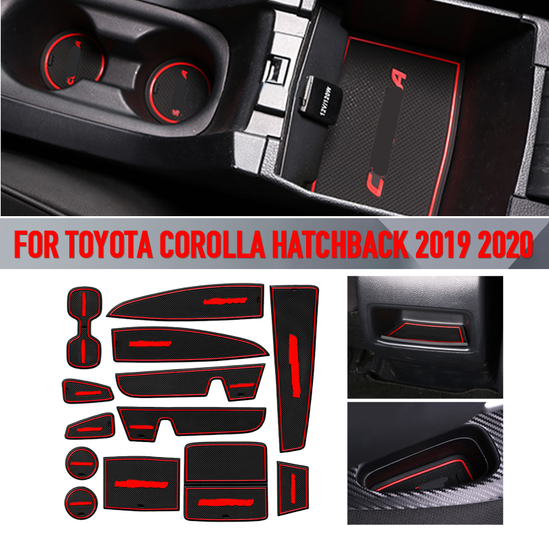 Pcmos 13Pcs Inner Door Gate Non-slip Pad Mat For Toyota Corolla Hatchback 2019 2020 Interior Mouldings Stickers Accessories New
