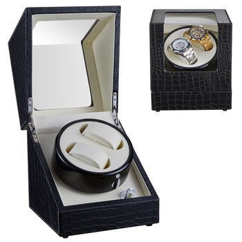 2+0 High Quality Leather Watch Winder Watch Winding Motor Stop Automatic Watch Display Cabinet Box Battery Winder Remontoir