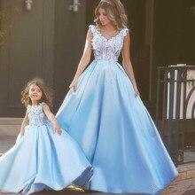 Новинка; платье с цветочным узором для девочек; одинаковые платья для мамы и дочки; бальное платье с аппликацией; нарядные платья для маленьких девочек; Vestido Daminha