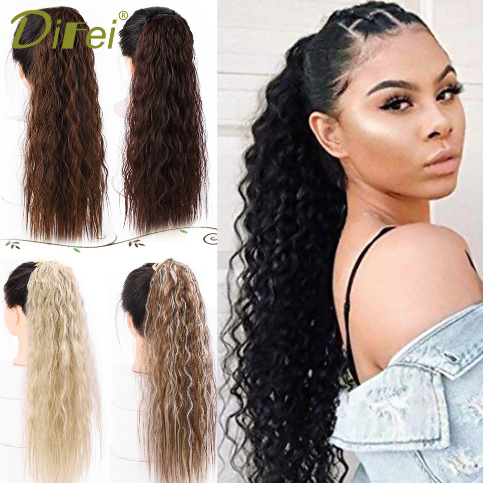 DIFEI Synthetic Long Ponytail With 1 Clip In Hair Extensions For Women Long Corn Curly Drawstring Pony Tail