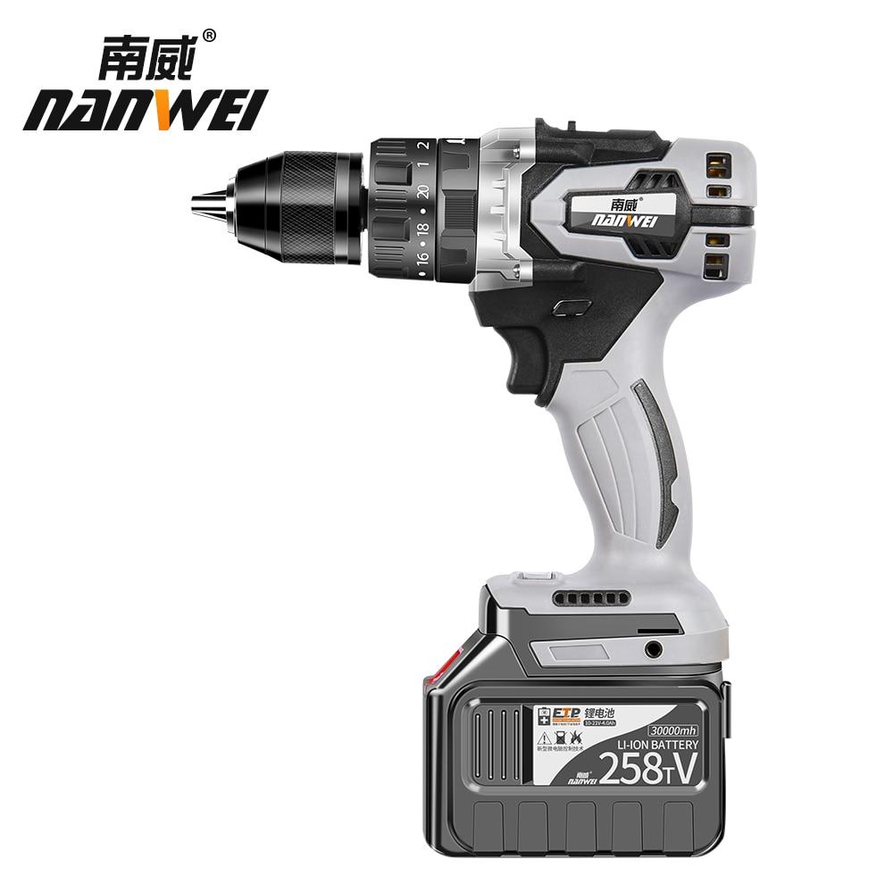 Industrial Battery Brushless 1 Drill 2000AH Grade Hammer 2inch Auto Drill Metal Impact Cordless Chuck Locking 21V