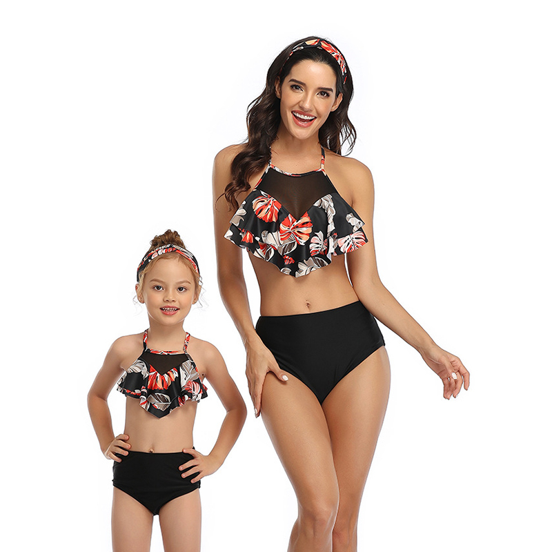 US Summer Family Matching Swimsuit Mother Daughter Women Girls Bikini Swimwear