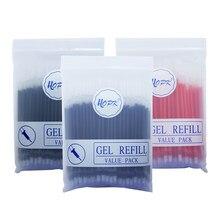 Ensemble de recharges de stylos Gel de bureau, 100/0.5mm, 0.38 pièces, tiges d'encre bleu, noir, rouge, balle/aiguille, papeterie pour école