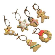 Mini Resin Christmas Tree Ornaments Set of Santa Snowman Gingerbread Angel(China)