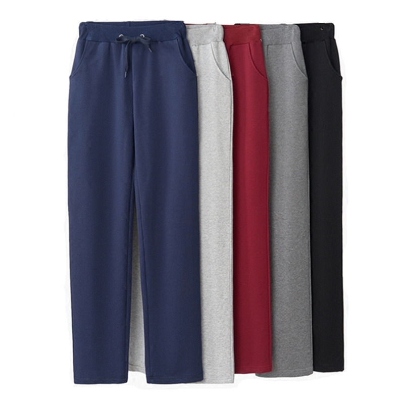4XL 5XL Plus Size Straight Long Pants Women Elastic Waist Spring Streetwear Loose Trousers Sweatpants Black Pants Women C6048