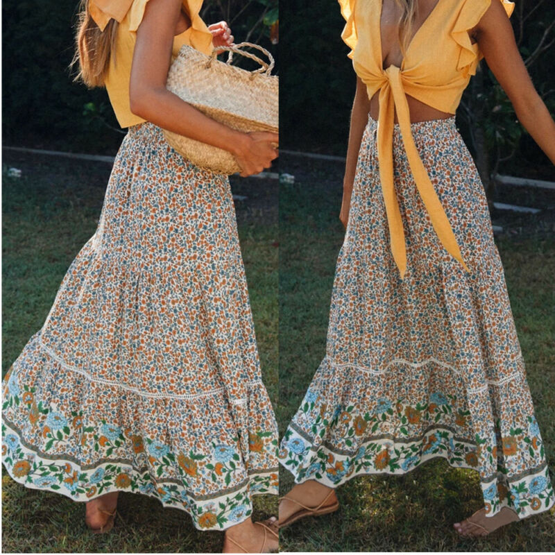 2020 Chiffon Boho Skirts Ladies Womens Gypsy Long Jersey BOHO Maxi Dress Skirt Ladies Skirt Summer Beach Long Maxi Skirts