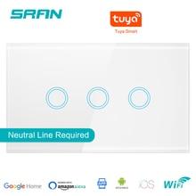 SRAN US wall wifi light switch 1/2/3 gang interruptor inteligente, smart wireless switch work with Alexa Google Home Echo