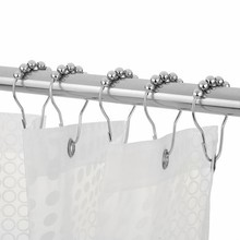 Shower Curtain Hooks Rings Rust-Resistant Shower Curtain Rings Hooks 12Pcs  Nylon Webbing Carabiners Olecranon Hook Keychain animal pattern shower curtain with 12pcs hook
